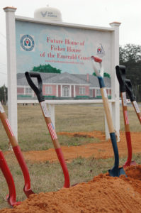 EGLIN AIR FORCE BASE, Fla. -- Shovels were ready for the groundbreaking ceremony for the Emerald Coast Fisher House here. There are currently 40 Fisher Houses worldwide and they provide a home-away-from-home for the families of servicemembers while loved ones are receiving medical treatment at military and Veteran Affairs facilities. (U.S. Air Force photo/Staff Sgt. Stacia Zachary)